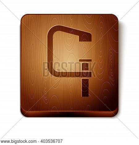Brown Clamp And Screw Tool Icon Isolated On White Background. Locksmith Tool. Wooden Square Button.