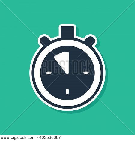 Blue Stopwatch Icon Isolated On Green Background. Time Timer Sign. Chronometer Sign. Vector