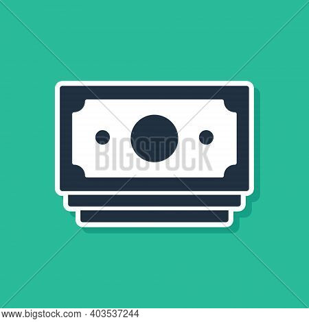 Blue Stacks Paper Money Cash Icon Isolated On Green Background. Money Banknotes Stacks. Bill Currenc