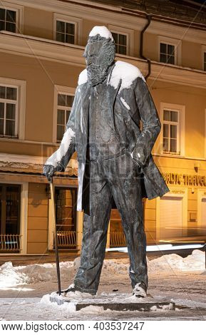 Vilnius, Lithuania - January 14 2021: Monument Of Jonas Basanavičius, Activist And Proponent Of The