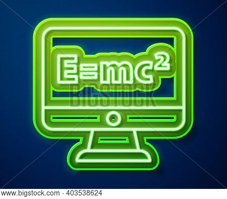 Glowing Neon Line Math System Of Equation Solution On Computer Monitor Icon Isolated On Blue Backgro
