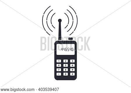 Black Icon Handheld Radio On White Background. Flat Vector Illustration