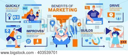 Benefits Of Marketing Infographics Layout With Building Trust Driving Purchasing Decisions Improving
