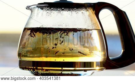 Toss A Pinch Of Dry Black Tea Leaves Into The Teapot. Close-up Glass Teapot Black Tea Brewing Proces