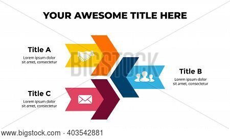 Arrows Vector Infographic. Presentation Slide Template. Chart Diagram. 3 Cycle Options.