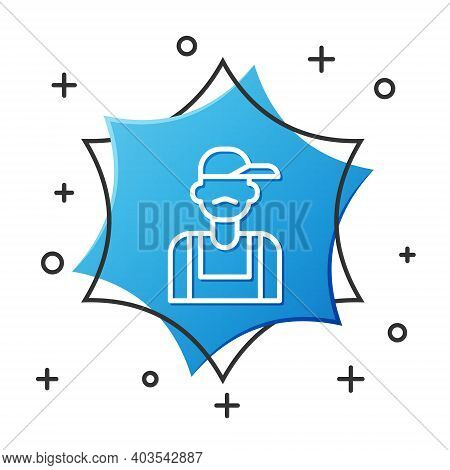 White Line Plumber Icon Isolated On White Background. Blue Hexagon Button. Vector