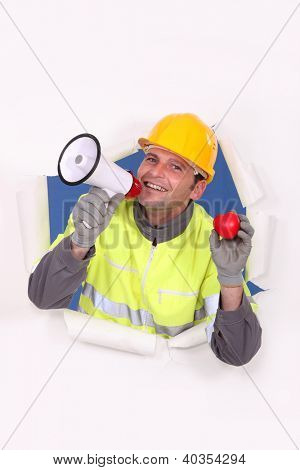 Construction worker proclaiming his love