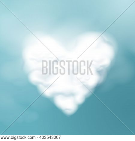 Valentines Day. Cloud Shape Of A Heart. 3d Vector Illustration