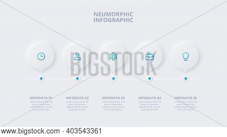 Neumorphic Element For Infographic. Template For Diagram, Graph, Presentation And Chart. Skeuomorph