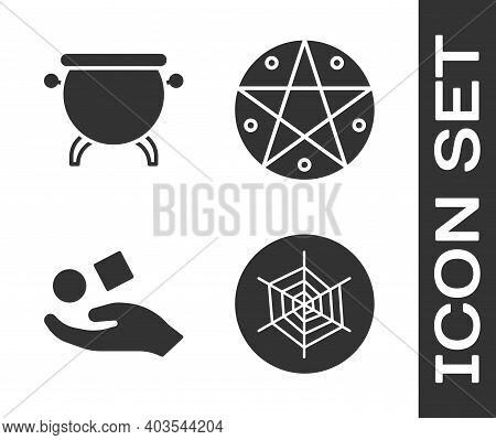 Set Spider Web, Witch Cauldron, Cube Levitating Above Hand And Pentagram In A Circle Icon. Vector