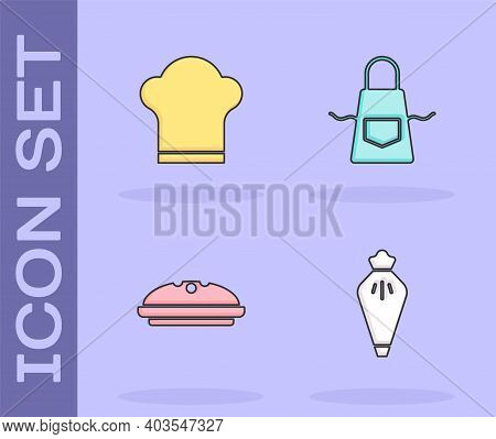 Set Pastry Bag, Chef Hat, Homemade Pie And Kitchen Apron Icon. Vector