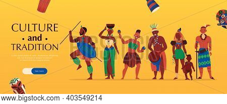 Africa Horizontal Banner With Characters Of African Tribe Members Editable Text And See More Slider