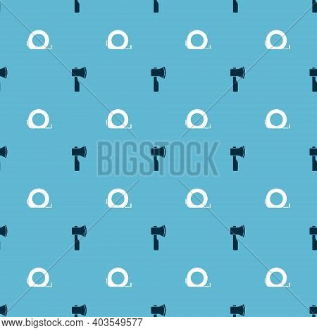 Set Wooden Axe And Roulette Construction On Seamless Pattern. Vector
