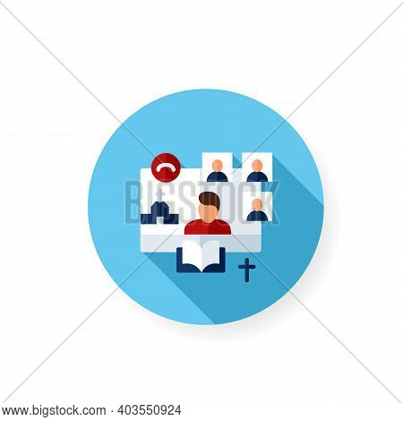 Online Religious Service Flat Icon. Meeting Together Concept. Internet Streaming Website. Live, Soci