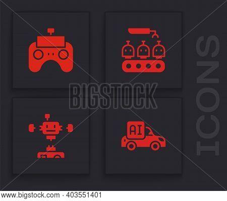 Set Autonomous Smart Car, Remote Control, Industrial Production Of Robots And Disassembled Icon. Vec