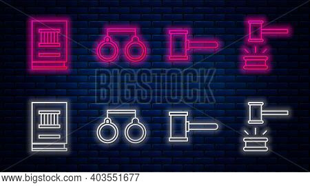 Set Line Handcuffs, Judge Gavel, Law Book And Judge Gavel. Glowing Neon Icon On Brick Wall. Vector