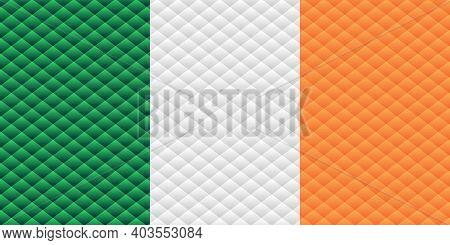 Mosaic Flag Of The Ireland - Illustration,  Three Dimensional Flag Of Ireland