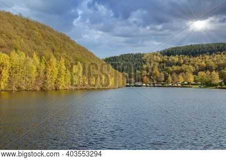 Autumn Landscape At Biggesee Reservoir In Sauerland,germany