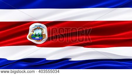 Waving Fabric Flag Of Costa Rica, Silk Flag Of Costa Rica, Independence Day, 3d Render.