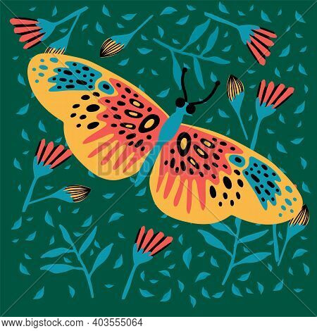 Picture Of A Butterfly In The Tropics. Scribbles Depict Lepidoptera, Soaring Moths, Colored Moths, W