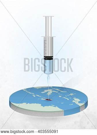 Vaccination Of East Timor, Injection Of A Syringe Into A Map Of East Timor. Vector Illustration Of A