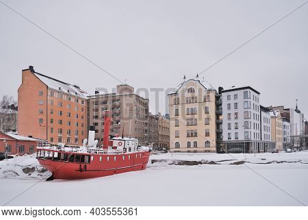 Finland. Cloudy Cold Winter Day In Helsinki