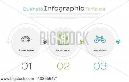 Set Line Bicycle Pedal, Lane And . Business Infographic Template. Vector