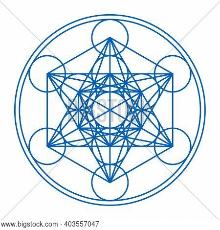 Metatrons Cube Framed In Two Circles. Mystical Symbol, Derived From The Flower Of Life. Thirteen Cir