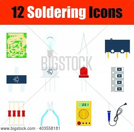 Soldering Icon Set. Flat Design. Fully Editable Vector Illustration. Text Expanded.