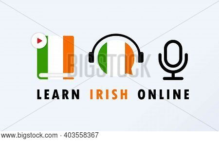 Learn Irish Online Banner. Learning Foreign Language. Online Education. Vector Eps 10. Isolated On B