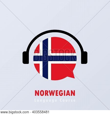 Norwegian Language Course Banner. Distance Education. Vector Eps 10. Isolated On Background.
