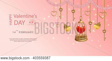 Happy Valentines Day Banner. Hanging Keys, Golden Birdcage, Hearts And Pink Flower Garland