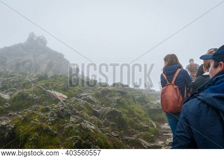 Snowdon, Uk. 07-08-2020. Relaxing Pandemic Lockdown Rules In August 2020 Resulted In Surge Of ''stay