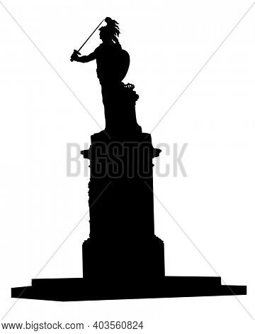 Ancient monument to an ancient warrior. Isolated silhouette on white background