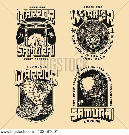 Mma Japanese Fight Club Prints In Vintage Monochrome Style With Inscriptions Poisonous Snake Samurai