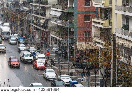 Thessaloniki, Greece - January 16 2019: Heavy Snowfall At The City Center. Snow Falling At Vasilissi