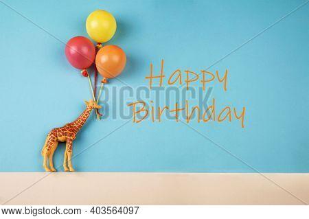Giraffe Toys Holding Balloons And Text: Happy Birthday