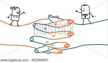Hand Drawn Cartoon Man And Woman Walking On Big Crossed Hands