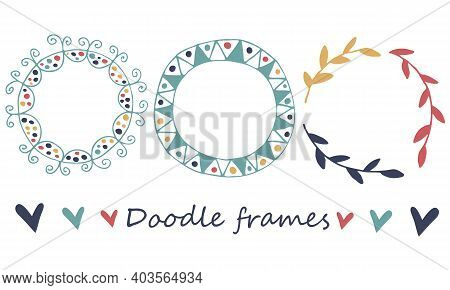 Vector Multicolored Doodle Frames. Hand Drawn Set On White Background