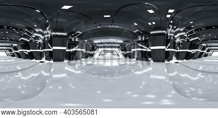 360 Degree Panorama Of Abstract Technology Futuristic Building Interior Hallway 3d Render Illustrati