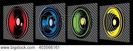 Set Of Different Speakers. Vector Color Illustration. Elements For Design. Carbon Fiber Background.