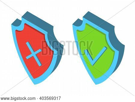 Security 3d Shields. Armor Isometric Plate. Symbol Of Security And Protection. Check Mark Icons. Gre
