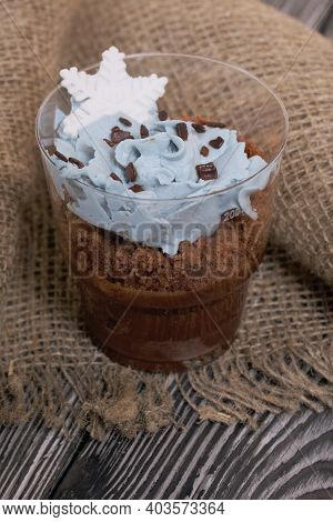 Biscuit Trifles With Chocolate And Cream Cheese. Decorated With Mastic Snowflakes. Nearby Is A Linen