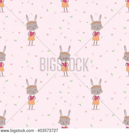 Lovely Bunny Hold Little Heart Seamless Pattern