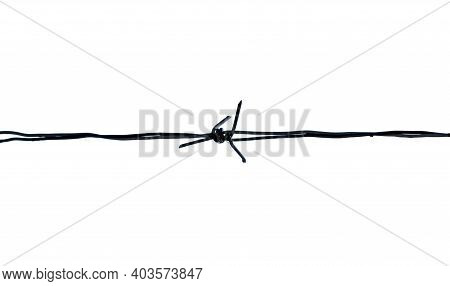 Horizontal Sharp Barb Wire Isolated On White Background. Closeup.