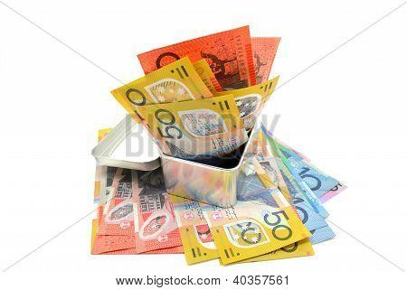 Some Australian banknote in a metal box