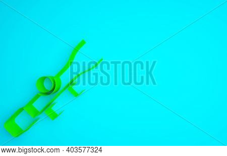 Green Sniper Optical Sight Icon Isolated On Blue Background. Sniper Scope Crosshairs. Minimalism Con