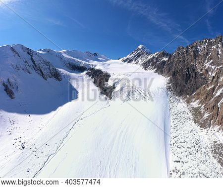 High mountains covered with glaciers