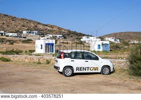 Ios, Greece - September 21, 2020: Fiat Panda Car Parked On The Coast Of Ios Island. Cyclades, Greece