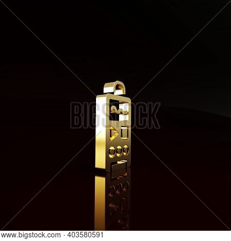 Gold Dictaphone Icon Isolated On Brown Background. Voice Recorder. Minimalism Concept. 3d Illustrati